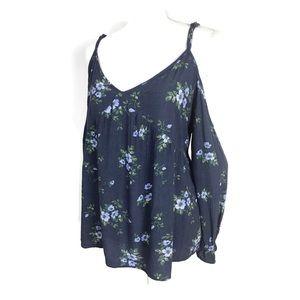 American Eagle Blue Cold Shoulder Floral Blouse